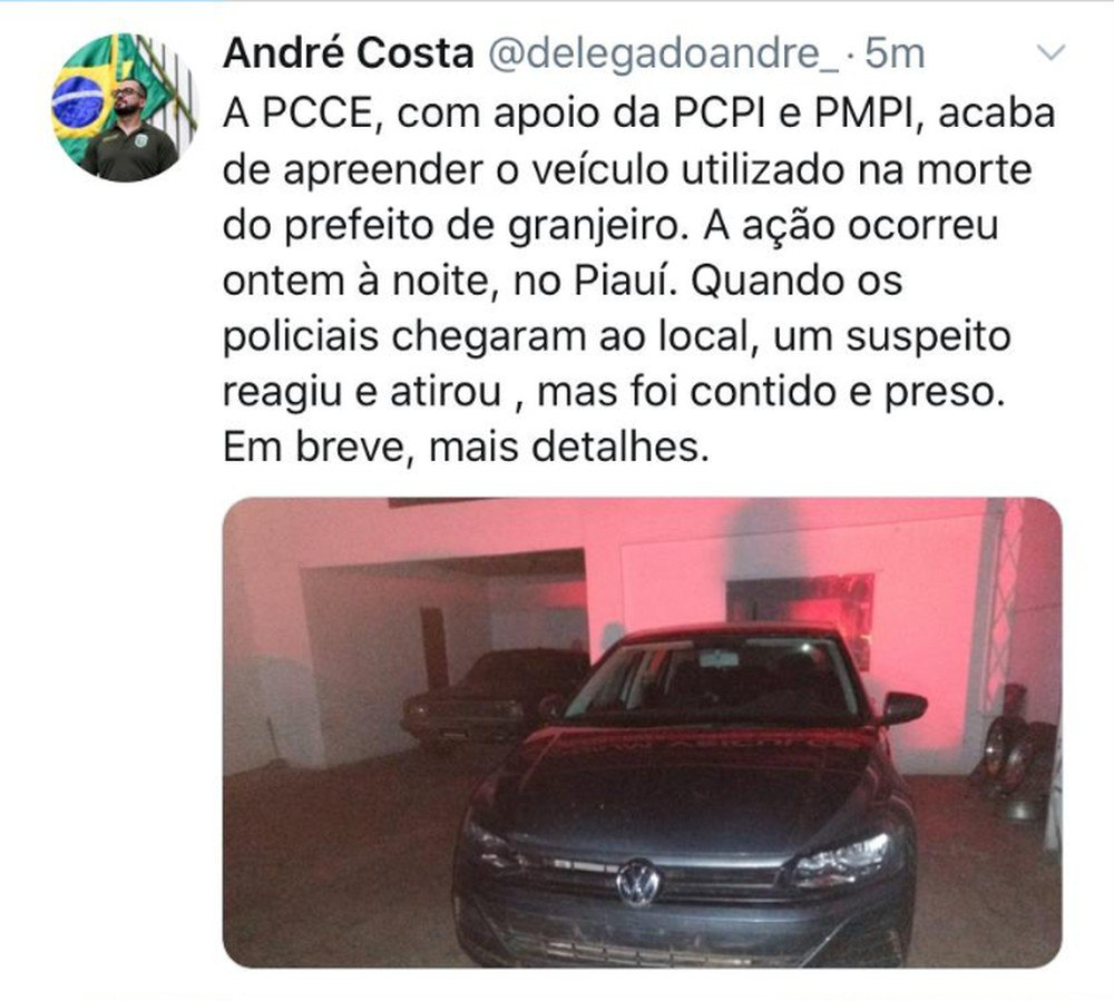 Carro usado no assassinato do prefeito de Granjeiro é apreendido no Piauí