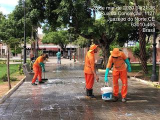 Xô coronavírus – Prefeitura e MXM Soluções fazem desinfecção de ruas e praças de Juazeiro do Norte
