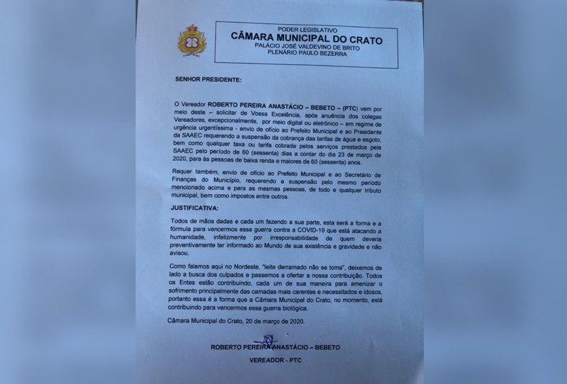 Vereador reinvindica suspensão de taxas e impostos para pessoas de baixa renda pelos próximos 60 dias em Crato