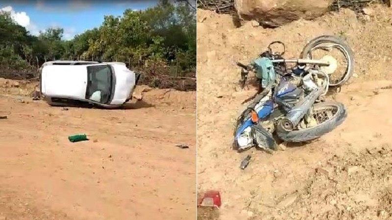 Agricultor morre em colisão entre moto e carro na zona rural de Campos Sales