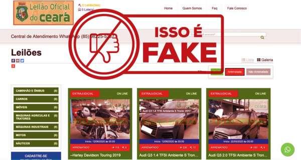 Falso site de leilões é alvo de investigações da Polícia Civil do Ceará