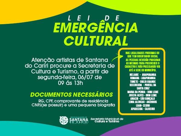 Secretaria de Cultura e Turismo inicia cadastro de artistas e grupos culturais de Santana do Cariri
