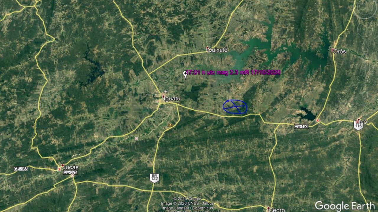 Tremor de terra com 2.3 graus de magnitude é registrado entre Iguatu e Orós, no Centro-Sul do Estado