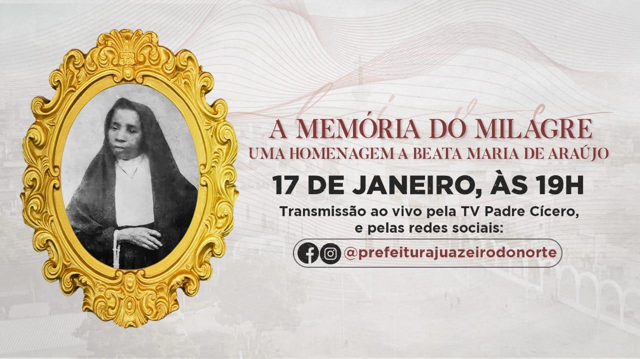 Secult realizará live em homenagem ao aniversário de morte da Beata Maria Araújo