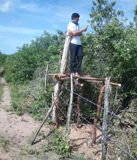 Estudante da zona rural do Ceará monta estrutura em cerca para conseguir sinal de internet e acompanhar as aulas remotas