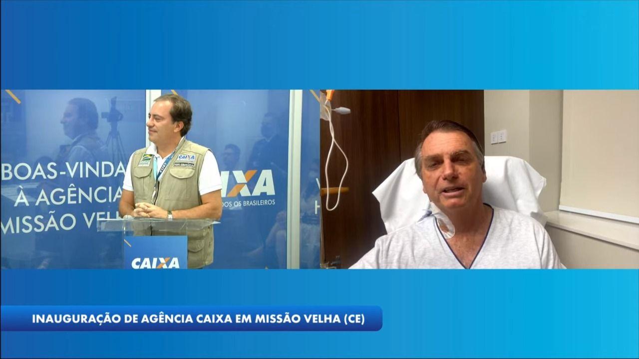 Internado, Bolsonaro participa de live em inauguração de agência bancáriaem Missão Velha